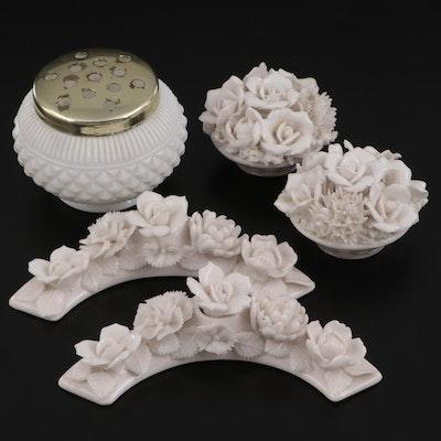 Japanese Porcelain Floral Curios and English Glass Powder Jar