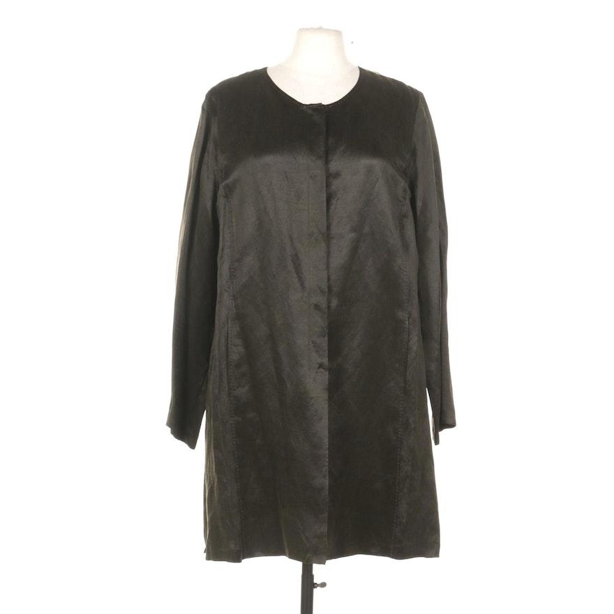 Eileen Fisher Silk and Linen Satin Weave Jacket in Black