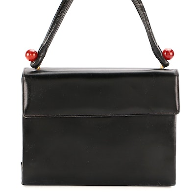 French Made Black Leather Top Handle Handbag for Woodward & Lothrop