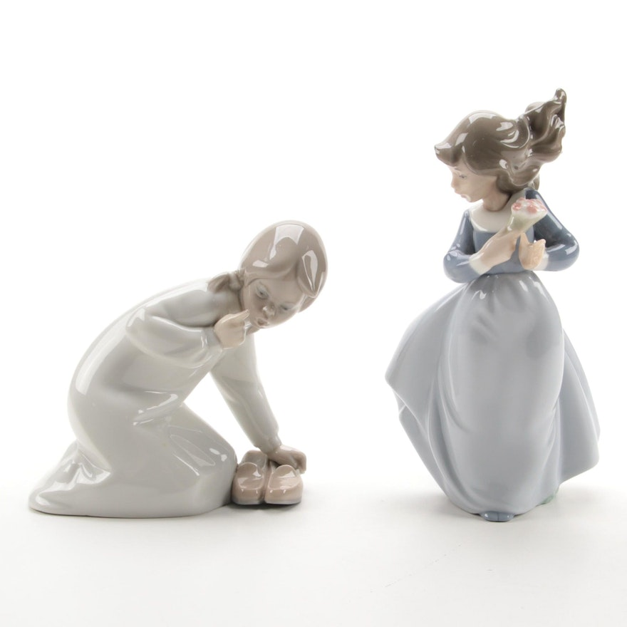 """Lladró """"Little Girl With Slippers"""" and  Nao by Lladró Porcelain Figurines"""