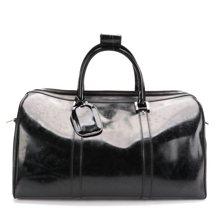 Gucci Weekender Bag in Black Glazed Leather