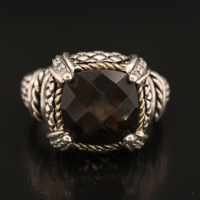 Andrea Candela Sterling Smoky Quartz and Diamond Ring with 18K Accents
