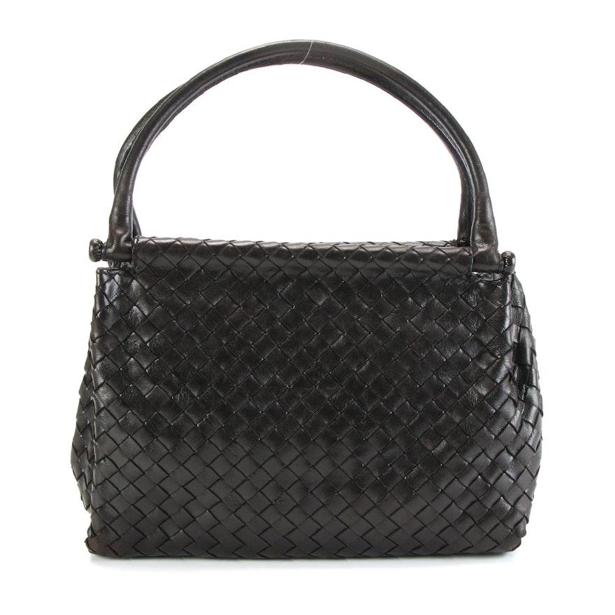 Bottega Veneta Black Intrecciato Leather Handbag