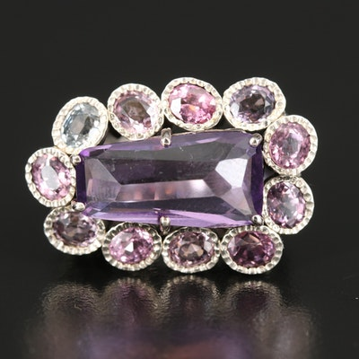 Sterling Silver Amethyst, Spinel and Sapphire Ring