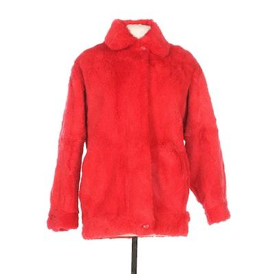 Red Dyed Rabbit Fur Jacket