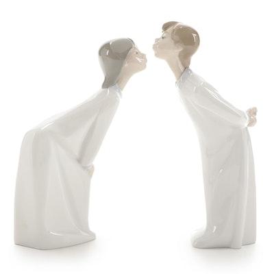 """Lladró """"Boy and Girl Kissing"""" Porcelain Figurines by Fulgencio Garcia"""