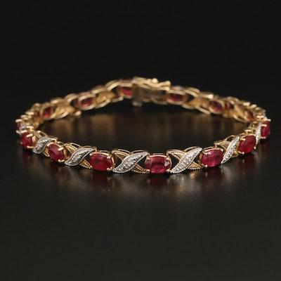 10K Corundum and Diamond X Link Bracelet