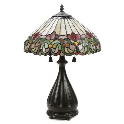 Quoizel Tiffany Style Stained Glass Floral Motif Table Lamp with Metal Base