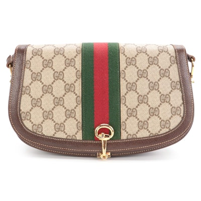Gucci Flap Front Shoulder Bag in GG Supreme Canvas with Web Stripe