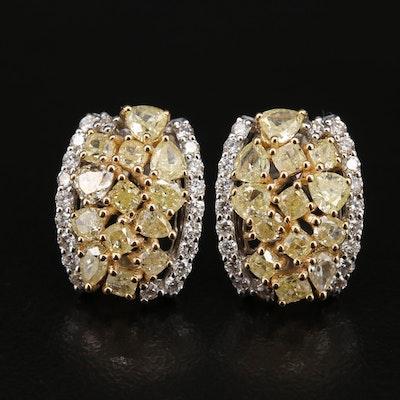 18K 2.66 CTW Diamond Cluster Earrings