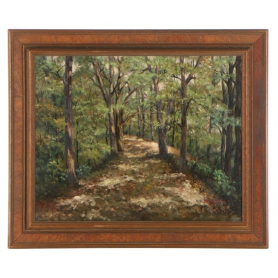 "John Dugan Landscape Oil Painting ""Filtered Light,"" Mid-Late 20th Century"