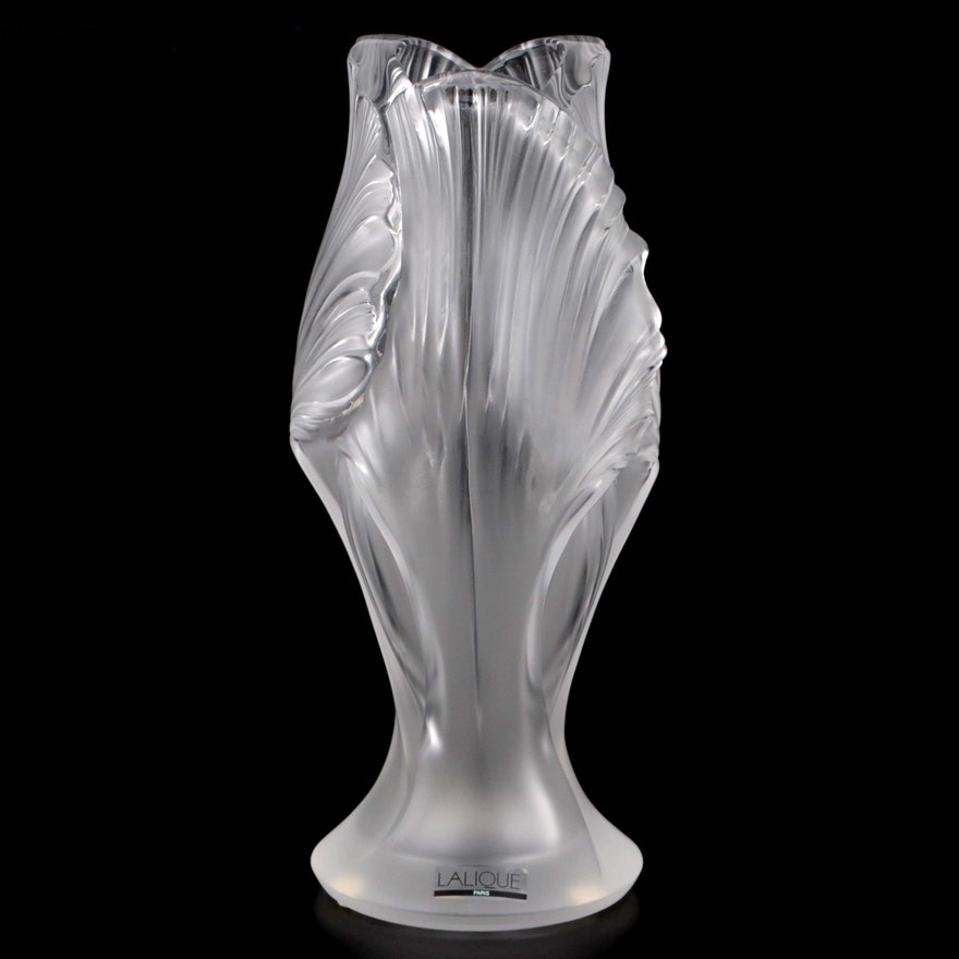 """Lalique """"Iris"""" Frosted Crystal Flower Vase"""
