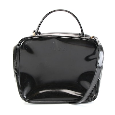 Gucci Two-Way Vanity Case in Black Patent Leather with Bamboo Zipper Pulls