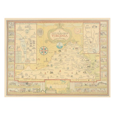 """Offset Lithograph Map After Charles W. Smith """"A Historical Map of Virginia"""""""