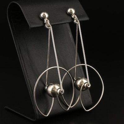 Sterling Silver Abstract Kinetic Earrings