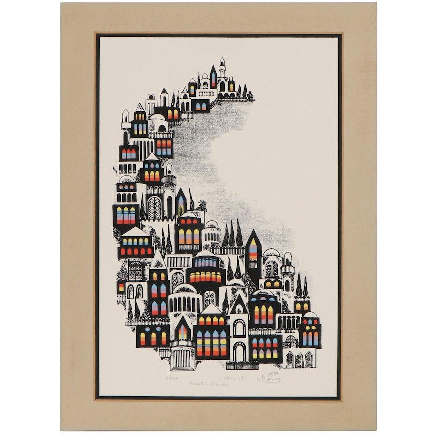 "Degana Lopez Serigraph ""Ascent in Jerusalem,"" Late 20th Century"
