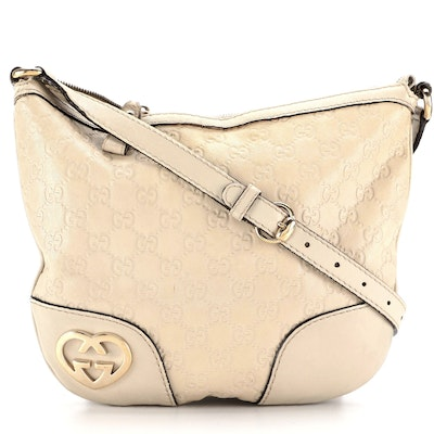 Gucci Lovely Heart Shoulder Bag in Off-White Guccissima Leather
