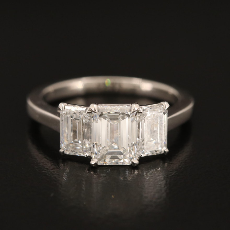 Platinum 2.40 CTW Diamond Ring with GIA Reports