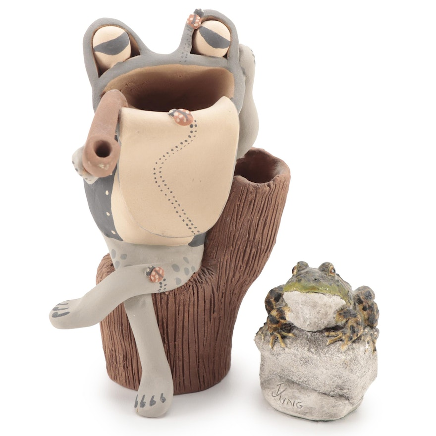 Hand-Painted Ceramic Abstract Frog Sculpture and Resin Frog Figurine