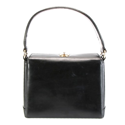 Gucci Handbag in Black Smooth Leather with Top Turn-Lock Closure