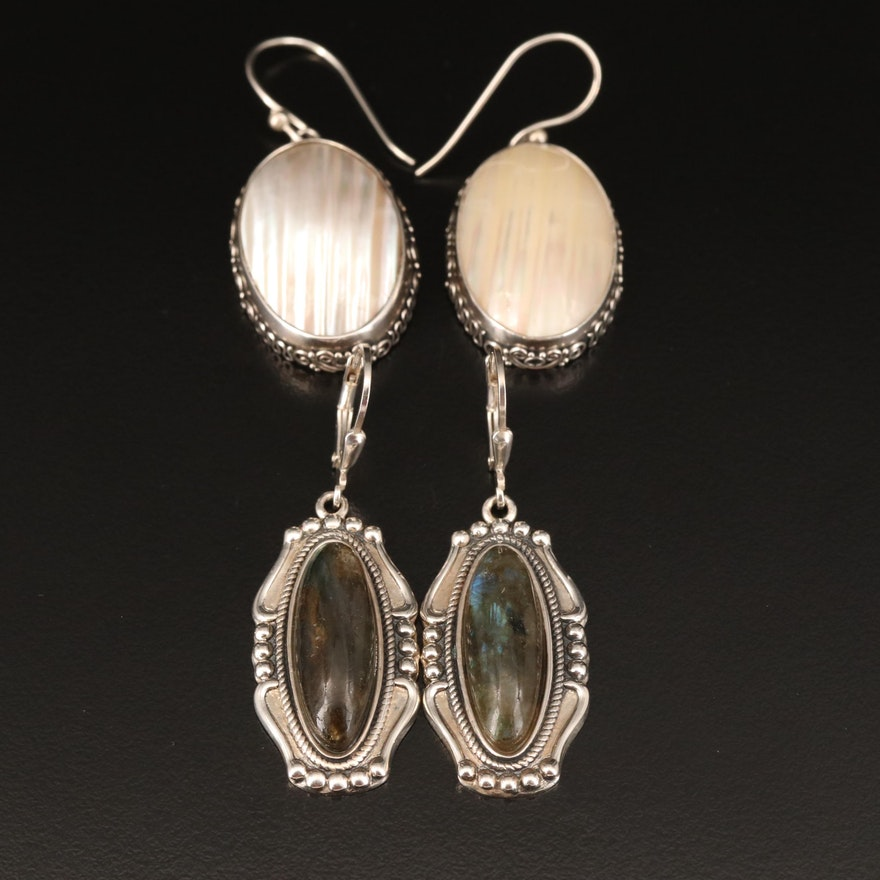 Sterling Earrings Including Labradorite and Mother of Pearl