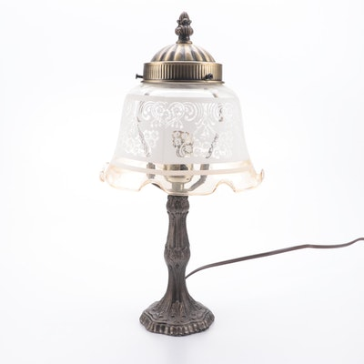 Victorian Style Cast Metal Accent Lamp with Glass Ruffled Rim Shade