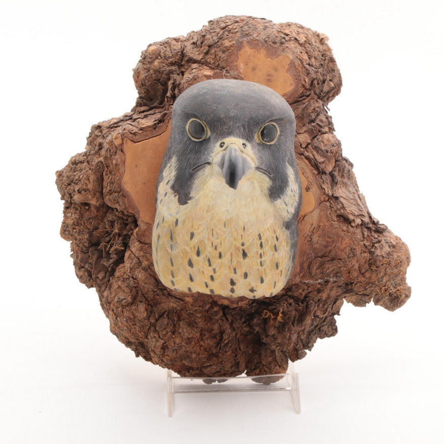 William Fewel Carved Wood Eagle Wall Hanging, Late 20th Century