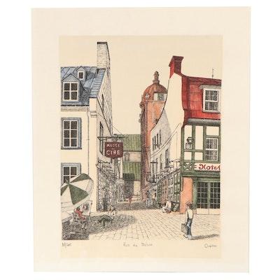 """Hand-Colored Lithograph """"Rue du Trésor,"""" Late 20th Century"""