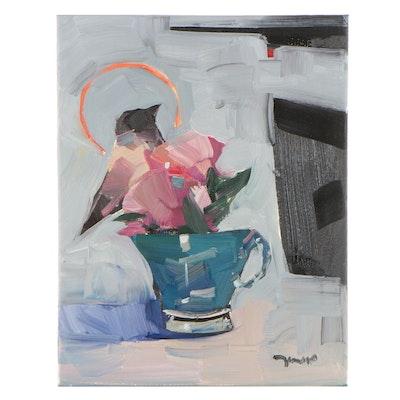 """Jose Trujillo Oil Painting """"Tea Time,"""" 2021"""