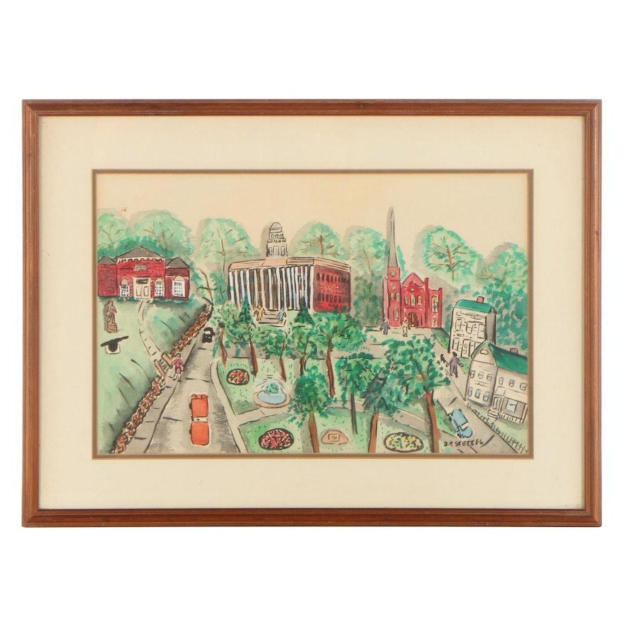 Bernadine P. Stetzel Watercolor Painting of Town Scene, Late 20th Century
