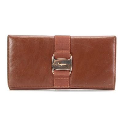 Salvatore Ferragamo Ribbon Continental Wallet in Brown Leather
