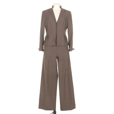 Worth Bouclé Wool Blend Striped Pantsuit with Contrast Lining