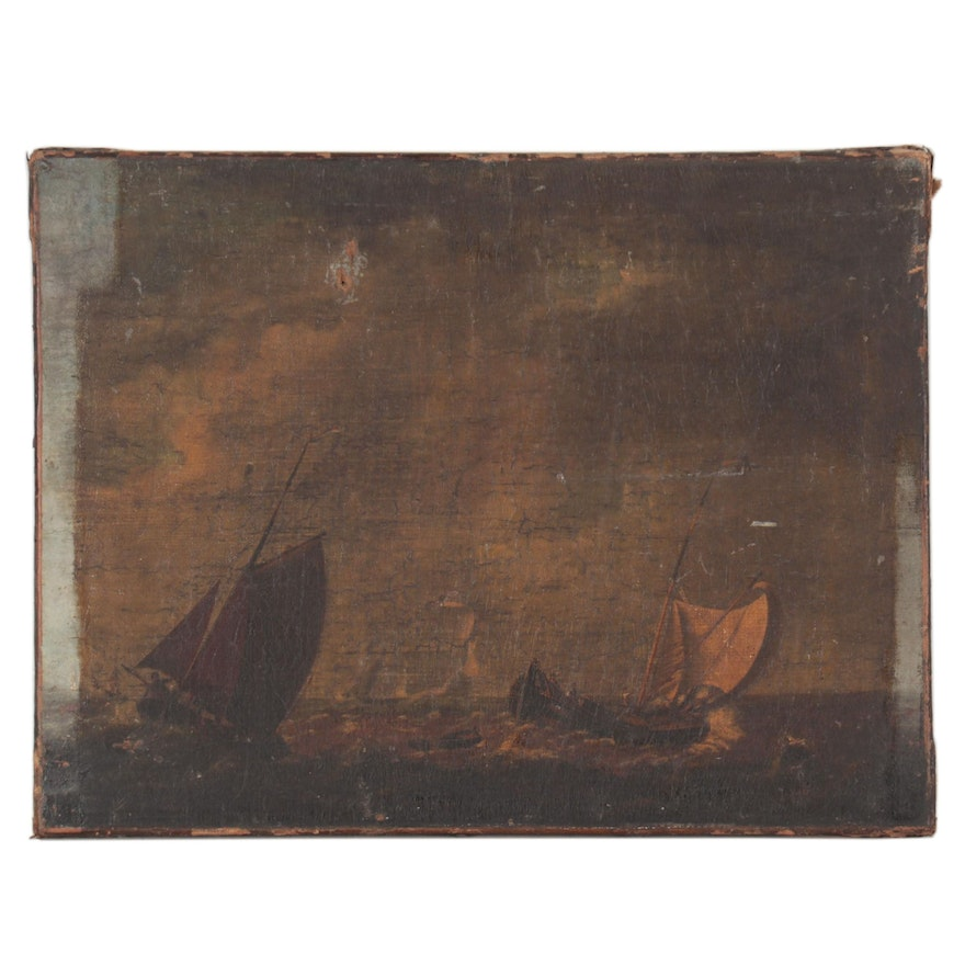 Nautical Oil Painting of Sailboats, Early 19th Century