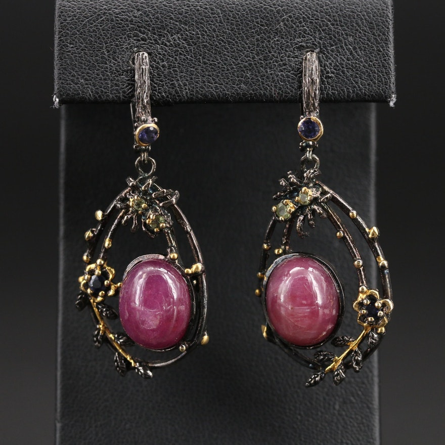 Sterling Silver Corundum, Peridot and Iolite Earrings