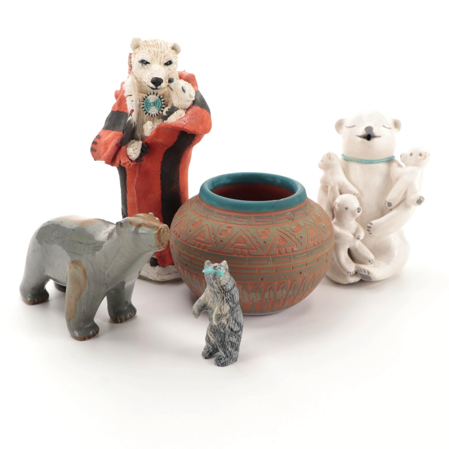 Dennis Charlie Navajo Sgraffito Pottery Vase with Other Bear Figurines