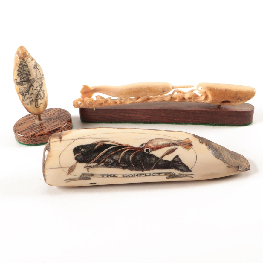 Scrimshaw and Carved Fossilized Ivory