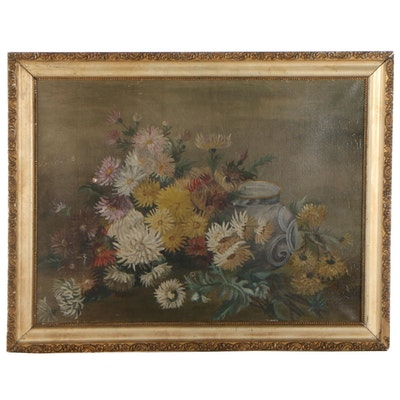 Still Life Oil Painting of Flowers, Late 19th Century