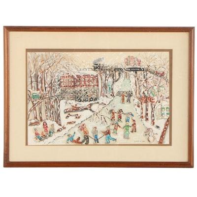 Bernadine P. Stetzel Watercolor Painting Snowy Winter Scene, Late 20th Century