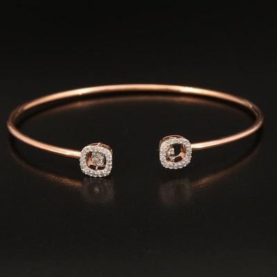 10K Rose Gold Diamond En Tremblant Cuff