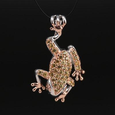 Sterling Pavé Sapphire Frog Slide Pendant