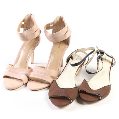 Lands' End Hadley Espresso Mid-Wedge Sandals and Tea Rose Suede Strappy Sandals