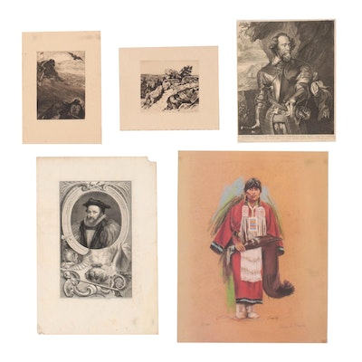 Figural and Landscape Etchings and Offset Lithograph