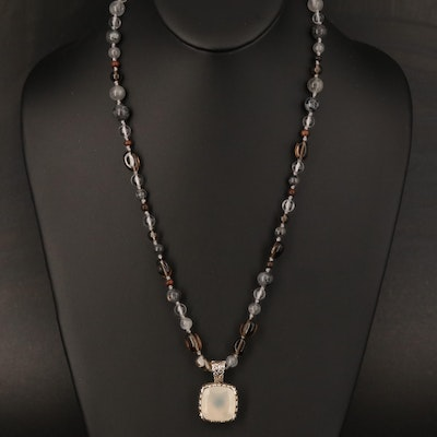 Robert Manse Sterling Enhancer Pendant on Beaded Necklace with 14K Accents