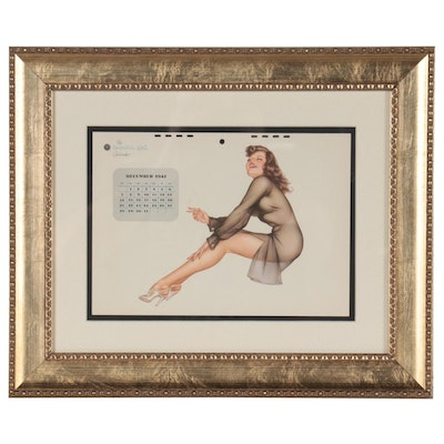 Offset Lithograph Calendar Page After Alberto Vargas, 1947
