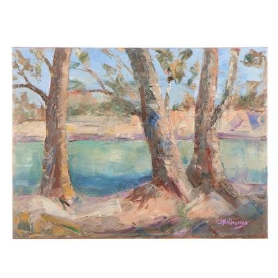 """James Baldoumas Oil Painting """"Three Sentries,"""" 2021"""