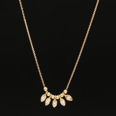 14K Bezel Set Diamond Necklace