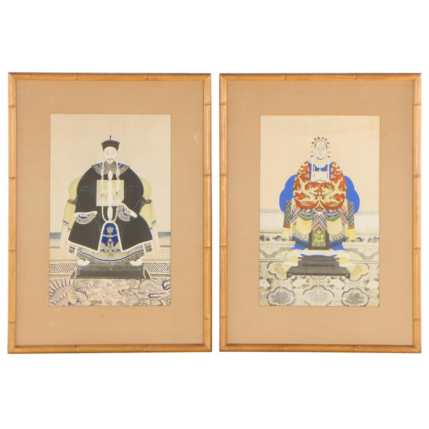 Hand-Colored Woodblocks of Chinese Emperor and Empress