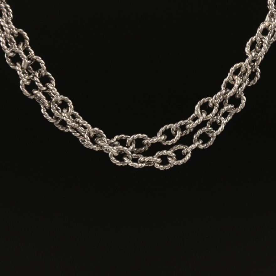 Andrea Candela Sterling Silver Double Chain Twisted Link Necklace