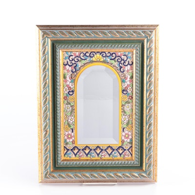 Wooden Framed Ceramic Faïence Mirror, Contemporary