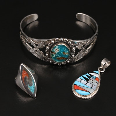 Southwestern Sterling Jewelry Featuring Maisel's Trading Post Cuff